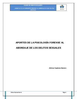 Psicología y Delitos Sexuales II. AESPINOSA DP
